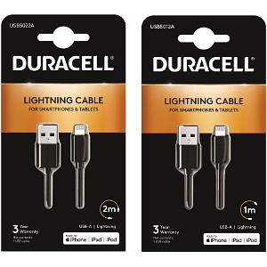 2m + Free 1m Lightning Cables - Black